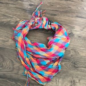Multicolored Patterned Scarf with Fringe